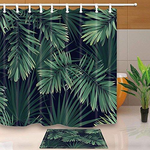 CDHBH Anlage Decor Tropischen Palme Blätter 180,3x 180,3cm Schimmelresistent Polyester Stoff Vorhang für die Dusche Anzug mit 39,9x 59,9cm Flanell Rutschfeste Boden Fußmatte Bad Teppiche