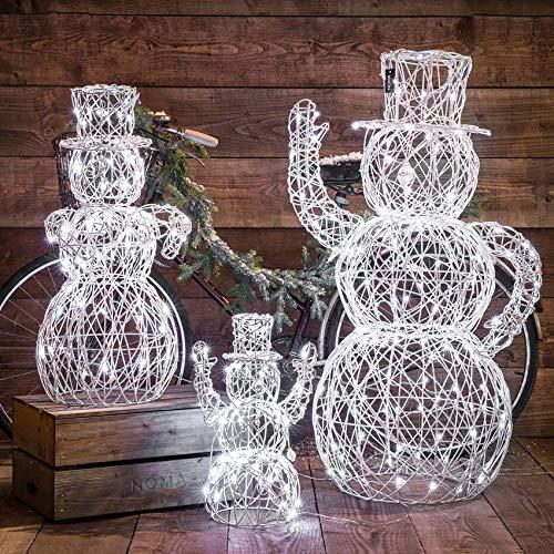 Festive Lights - beleuchtete Outdoor Skulpturen - LEDs in weiß (3er Set Schneemann Familie)