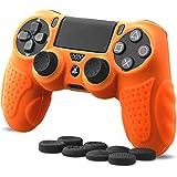 CHIN FAI PS4 Controller Schutz-Hülle,Silikon Anti-Rutsch 8 Daumen Griffe Skin Grip Schutzhülle für Sony PS4 / Slim/Pro Controller(Orange)