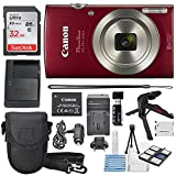Best Selling Canon PowerShot ELPH 180 Digital Camera (Red) + 32GB SDHC Memory Card + Flexible tripod + AC/DC Turbo Travel Charger + Replacement battery + Protective camera case with Deluxe Bundle be sure to Order Now