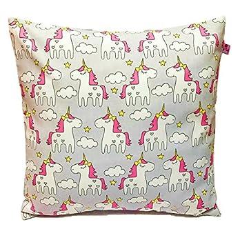 "TryPinky® Kissenbezug 40 X 40 cm "" Einhorn Pärchen Grau "" Handmade unicorn Kissenhülle 100 % Baumwolle BW Pink Einhörner Hellblau Grau Punkte Wolken"