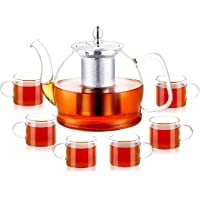 PluieSoleil 1200ml Glass Teapot with Infuser for Loose Tea, Heat Resistant Glass Tea Pot with Strainer for Flowering Tea…