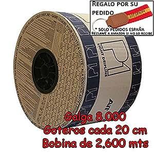 Drip Irrigation Tape 16mm & # X2022; Gauge 8Mil & # X2022; Goteros Each 20cm & # X2022; Coil 2600MTS & # X2022; Flow 1.5Litres Per Hour