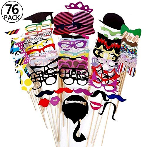 , 76-teilig, für Foto-Automat, Zubehör, mit Bunten Brillen, Schnurrbart, Lippen, Fliegen, Hüte, an Stäben, für Hochzeit, Party, für Weihnachten, Geburtstag ()
