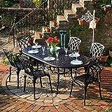 Lazy Susan - Table ovale 210 x 105 cm CATHERINE et 6 chaises de jardin - Salon de jardin en aluminium moulé, coloris Bronze ancien (chaises APRIL)