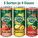 Perrier&Juice TESTPAKET alle drei Sorten (je 4 Dosen Ananas-Mango, Erdbeer-Kiwi und Pfirsich-Kirsche)