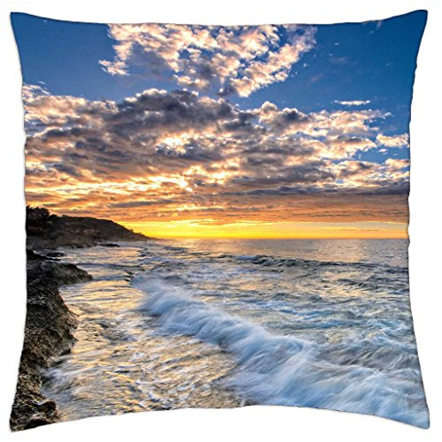 magnificent sunset on seacoast in valencia spain - Throw Pillow Cover Case (18 (Valencia Slip)