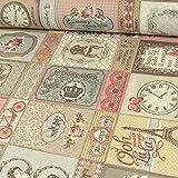 Beschichteter Baumwollstoff Vintage Muster Rosen Uhr Stuhl