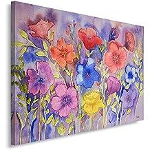 Feeby Frames, Cuadro en lienzo, Cuadro impresión, Cuadro decoración, Canvas de una pieza, 60x80 cm, FLORES, LAVANDA, NATURALEZA, MORADO, ROJO, AMARILLO, ARTE, COLOR