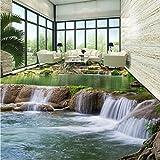 LHDLily 3D Wallpaper Wandbild River Wasserfälle Bodenbelag Malerei Wohnzimmer Badezimmer Selbstklebende Boden Tapete Wandbild 150Cmx100Cm