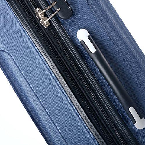 Zwillingsrollen 2050 Hartschale Trolley Koffer Reisekoffer in M-L-XL-Set in 12 Farben Dunkelblau