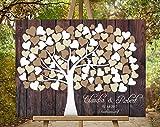 Gästebuch Hochzeitsbaum von CristalPainting Wedding Tree, Rustikales Gästebuch, Leinwanddruck - Baum, Keilrahmen und Holz Motiv 70x50 cm