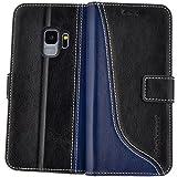 elephones Handy Hülle Samsung Galaxy S9 Hülle mit Kartenfächer Standfunktion Geldscheinfach Handy Tasche Samsung Galaxy S9 Schutzhülle Flip Case Cover Schwarz - Blau