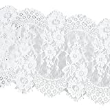 MagiDeal 3 Yards Eyelash Lace Trim Ribbon Applique for Wedding Sewing Craft Black White 33cm Wide - white, 290x33cm