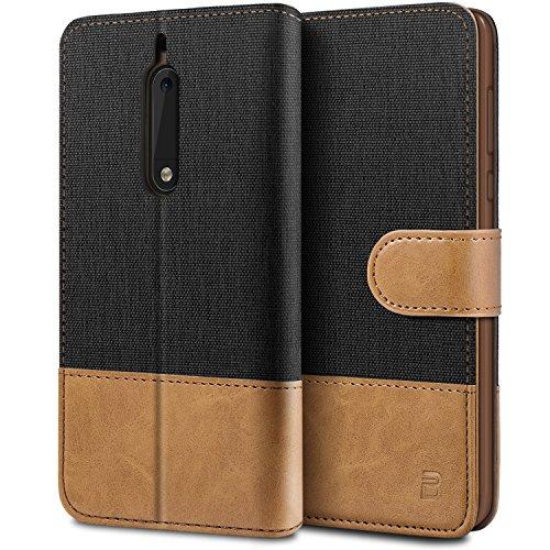BEZ Hülle für Nokia 5 Hülle, Handyhülle Kompatibel für Nokia 5, Handytasche Schutzhülle Tasche [Stoff und PU Leder] mit Kreditkartenhaltern, Schwarz
