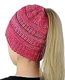 JAYSLE Damen Mädchen Gestrickt Hut,Pferdeschwanz Winter Herbst Mütze Strick Frauen,Warme Gestrickt Damenmütze mit Zöpfen Loch-Rosa