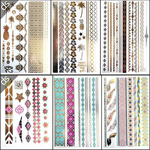 Nwhzl Temporäre Tattoos, 6 Sheets Tattoobögen mit Henna Körpertattoos, Klebe Tattoos in Gold und Silber, 60 Einzigartige Designs, Temporäre Tätowierung für Body Art20