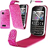 Magic Global Gadgets Étui à rabat en cuir de luxe – rose paillette Diamant Bling Strass Coque Étui pochette pour Nokia Asha 200/201