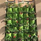 Kofun Bolsa para macetas para Colgar en el Exterior, 18 Bolsillos, para Interior, Balcón, Hierba, Vertical para Jardín, Pared, poliéster, Vertical Green, 100 x 50 cm/39.37' x 19.69'