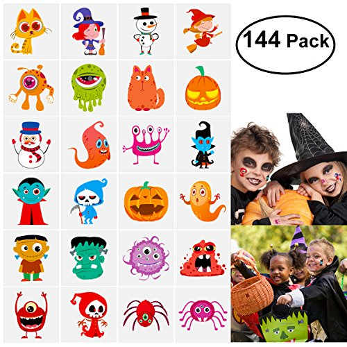 (144 Sortierte Halloween Abwaschbare Tattoos, 24 Sticker mitSüßen Designs als Kinder Tattoos)