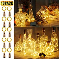 BIG HOUSE Bottle Lights with Cork, 10 Pack 2M 20LEDs Cork Lights Battery Operated Copper Wire LED Fairy Lights for DIY, Party, Decor, Christmas, Halloween,Wedding (Warm White)