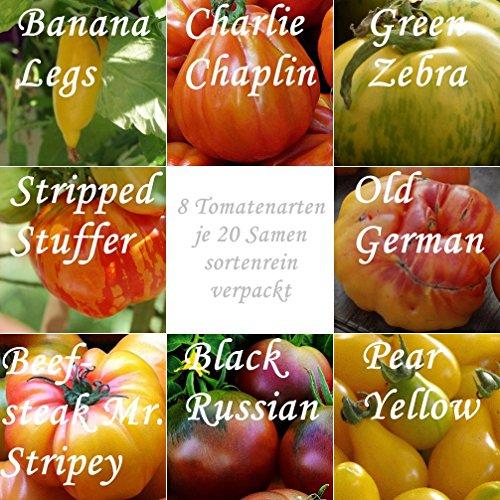 "zwei Tomaten Mixe (4 ""alte"" Sorten + 4 ""neue"" Sorten ) -8 Arten - je 20 Samen - sortenrein verpackt - !!!"