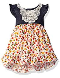 Youngland Baby Girls' Denim to Floral Printed Woven Dress