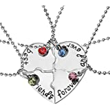 "Elegant Rose, set di 4 collanine dell'amicizia, con ciondolo a forma di cuore, motivo ""Best Friends Forever and ever"", regalo"