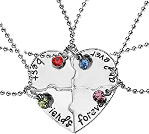 "Elegant Rose, set di 4 collanine dell'amicizia, con ciondolo a forma di cuore, motivo ""Best Friends Forever and ever"", regalo creativo per ragazze, in lega"