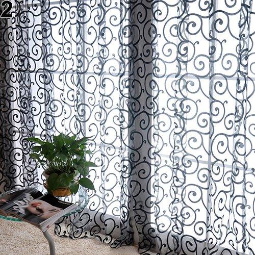shyyymaoyi Romantischer Blumendruck, Voile, Tüll-Vorhang für Wohnzimmer, Schlafzimmer, Balkon Schwarz