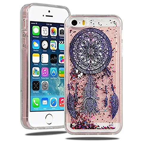 SmartLegend Coque iPhone 5 5S, Etui iPhone SE, Bling Glitter Liquid Crystal Housse Etui Souple Silicone Transparente Coque pour Apple iPhone SE iPhone 5 5S, Etui Clair Paillettes Etui de Protection Cas en Caoutchouc en Ultra Slim Cristal Soft Gel Rubber Bumper Protection pour Apple iPhone SE iPhone 5 5S -Tribal Windbell