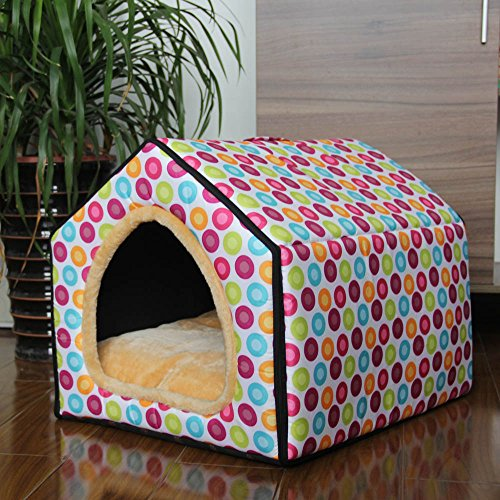 ZPP-Winter dog house Wo washable yurt tent small nest House dog and cat Queen,Pink polka dots,S