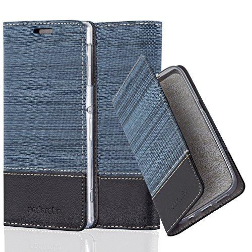 Cadorabo Hülle für Sony Xperia Z1 - Hülle in DUNKEL BLAU SCHWARZ – Handyhülle mit Standfunktion und Kartenfach im Stoff Design - Case Cover Schutzhülle Etui Tasche Book