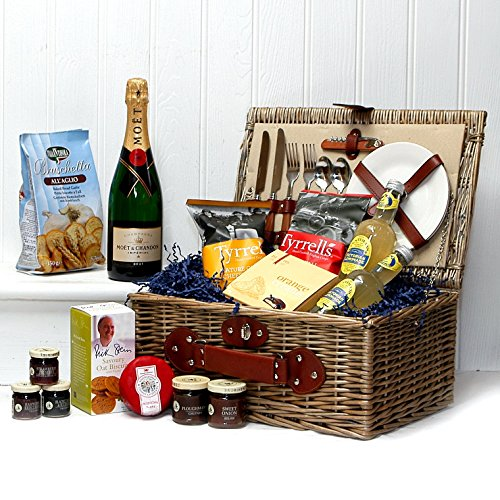 Gourmet Summer Food and Moet et Chandon Champagne Hamper Presented in a 2 Person Picnic Knightsbridge Picnic Basket with Accessories- Gift Ideas for Birthday, Anniversary and Congratulations Presents