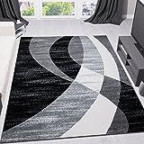 Teppich Modern Design Schwarz Grau Weiß Kurzflor Geschwungene Streifen Pflegeleicht Top Qualität 80x150 cm