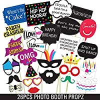 Party Propz Birthday Photo Booth Props for Kids and Adults - 26 Pieces