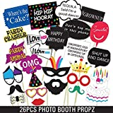 Party Propz Birthday Photo Booth for Kids and Adults - 26 Pieces