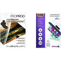 PROPROD Premium Pack de 100 Pochettes de plastification A3 75 microns finition brillante Transparent & Fellowes 5306114…