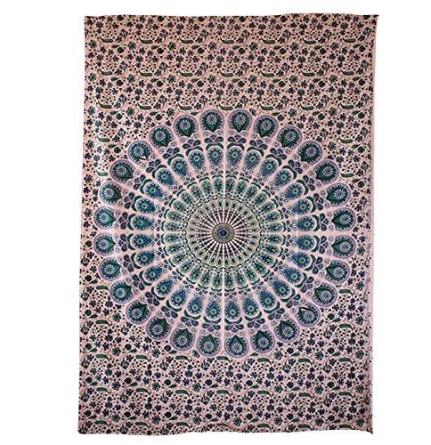 Handicrunch Indian Weiß Mandala-Tapisserie, indischen Hippie Wandbehang, böhmische Wandbehang, Tagesdecke Strand Coverlet Werfen Dekor Kunst - Block Bedruckten Baumwollbettlaken