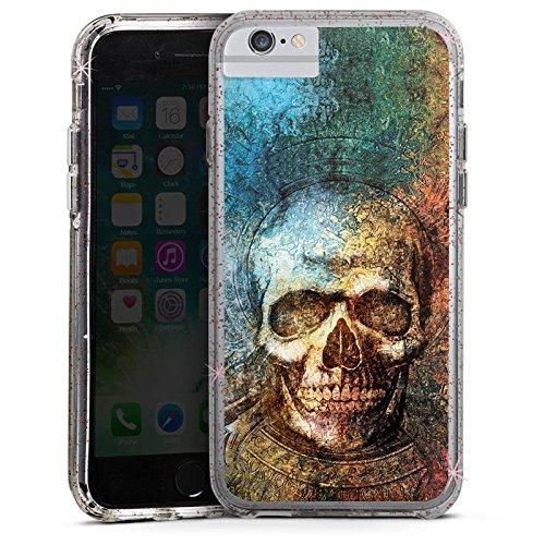 Apple iPhone X Bumper Hülle Bumper Case Glitzer Hülle Psycho Totenkopf Skull Bumper Case Glitzer rose gold