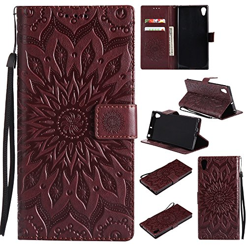 Embossing Sonnenblumenmuster horizontale Flip Stand Case Wallet Pouch Cover mit Lanyard für Sony Xperia XA1 ( Color : Gray ) Brown