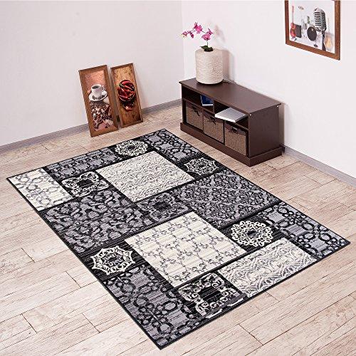 Tapiso Scarlet Teppich Kurzflor Modern Teppiche mit Designer Marokkanisch Mosaik Muster in Schwarz Weiss Ideal für Wohnzimmer, Schlafzimmer Ökotex 180 x 250 cm (Teppich Streifen Floral)