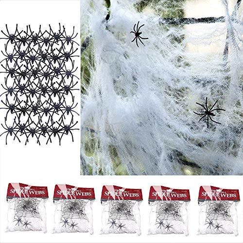 Tian 5 Packungen Realistisch bunt Spinnennetz Spinngewebe mit 50 spinne Für Halloween Dekoration Halloweenparty Deko ( weiß)