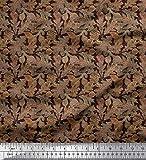 Soimoi Braun Poly Georgette Stoff Textur, Herbst & Oak