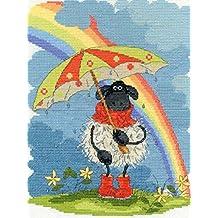"""De la serie de punto de """"diseño de oveja con paraguas y arco iris"""" - de tamaño de 25 x 20 cm, para punto de cruz - imagen de - toallas de 100% algodón - Kit de punto de cruz - Set de punto de cruz y completamente para-mantel de - diseño de flores digitalis - de el KAMACA-SHOP"""