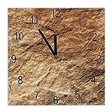 banjado Wanduhr aus Glas | geräuscharme Uhr 30x30cm | Glasuhr für Küche, Büro, Wohnzimmer, Kinderzimmer | Motiv Steinstruktur