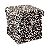 Cadorabo Intirilife – 30 x 30 x 30 cm Aufbewahrungs-Box aus Stoff und Pappe Faltbox Ordnungsbox Kiste mit Deckel und Tieraufdruck in Leoparden-Muster