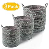 LOCHAS Natural Fiber Braided Storage Baskets Bins Hand Woven Collapsible Tote Belly Baskets with Rope Handles for Towel, Laundry, Picnic, Beach Bag(3 Pack,Green)