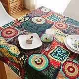 Nclon Ethno-Stil Vintage Tischdecke,Mittelmeer Baumwolle Hanf Esstisch Coffee Table Tischdecke Exotische Tischtuch tischwäsche-Orange 120 * 180cm