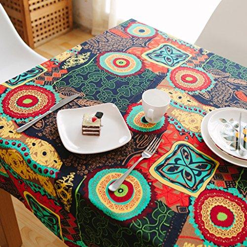 Nclon Ethno-Stil Vintage Tischdecke,Mittelmeer Baumwolle Hanf Esstisch Coffee Table Tischdecke...